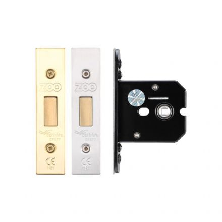 Zoo Hardware ZUKFD64PVD Flat Mortice Bathroom Deadbolt Polished Brass 64mm